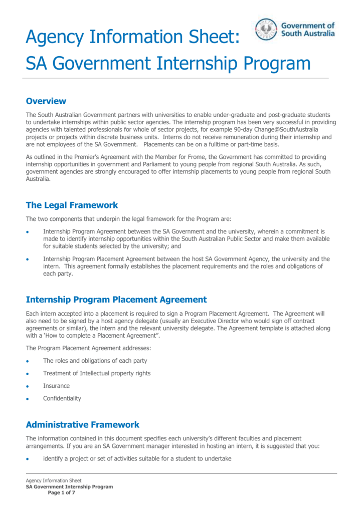 Unpaid Internship Agreement Template Sample Unpaid Internship