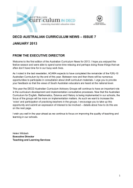 decd australian curriculum news – issue 7 january 2013 from the