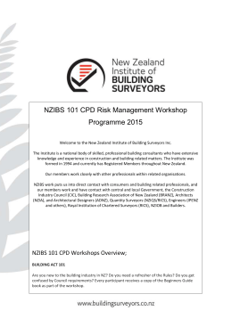 NZIBS 101 CPD Risk Management Workshop