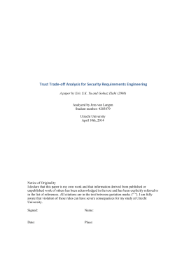 Trust Trade-off Analysis for Security Requirements Engineering