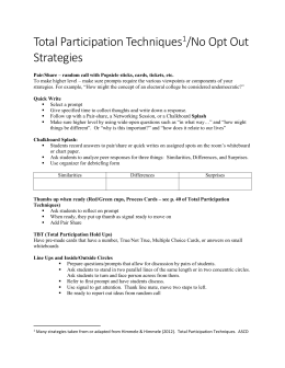 Total Participation No Opt Out Strategies to promote