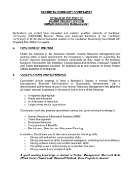 Senior Project Officer HRM (Closing date December 13