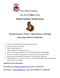 Ottawa Senators Hockey Game Thursday January 2, 2014 at 7