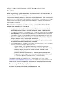 Guide to a PhD research Proposal, School of Psychology, University