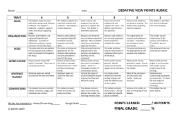 debating view points rubric trait 6 5 4 3 2 1