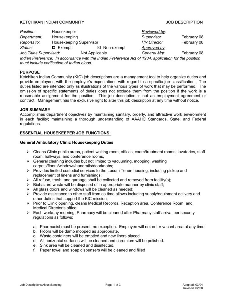 housekeeper jobs in islamabad