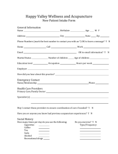 Acupuncture New Patient Form - Happy Valley Wellness and