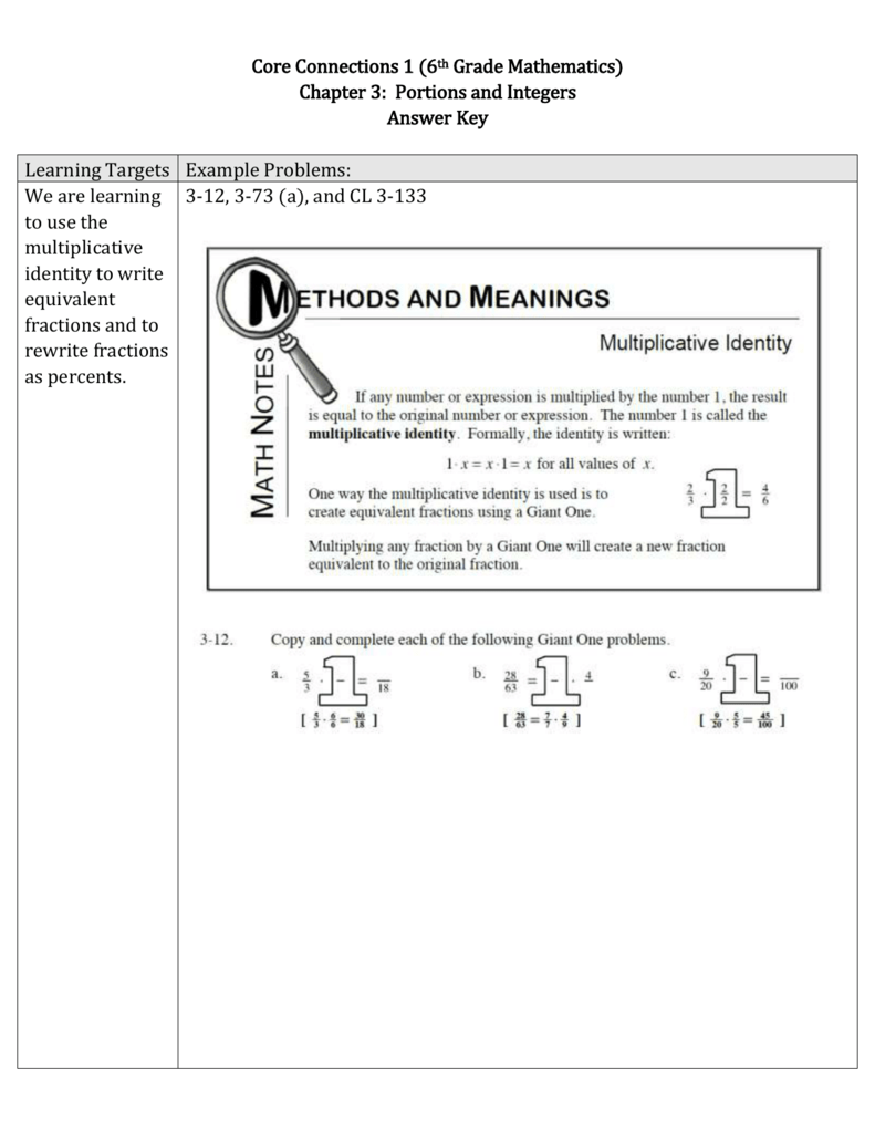 Chapter 3 math review packet answer key