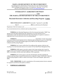 County INTERAGENCY AGREEMENT - Maryland Department of the