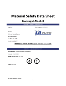 MATERIAL SAFETY DATA SHEET ISOPROPYL ALCOHOL 70