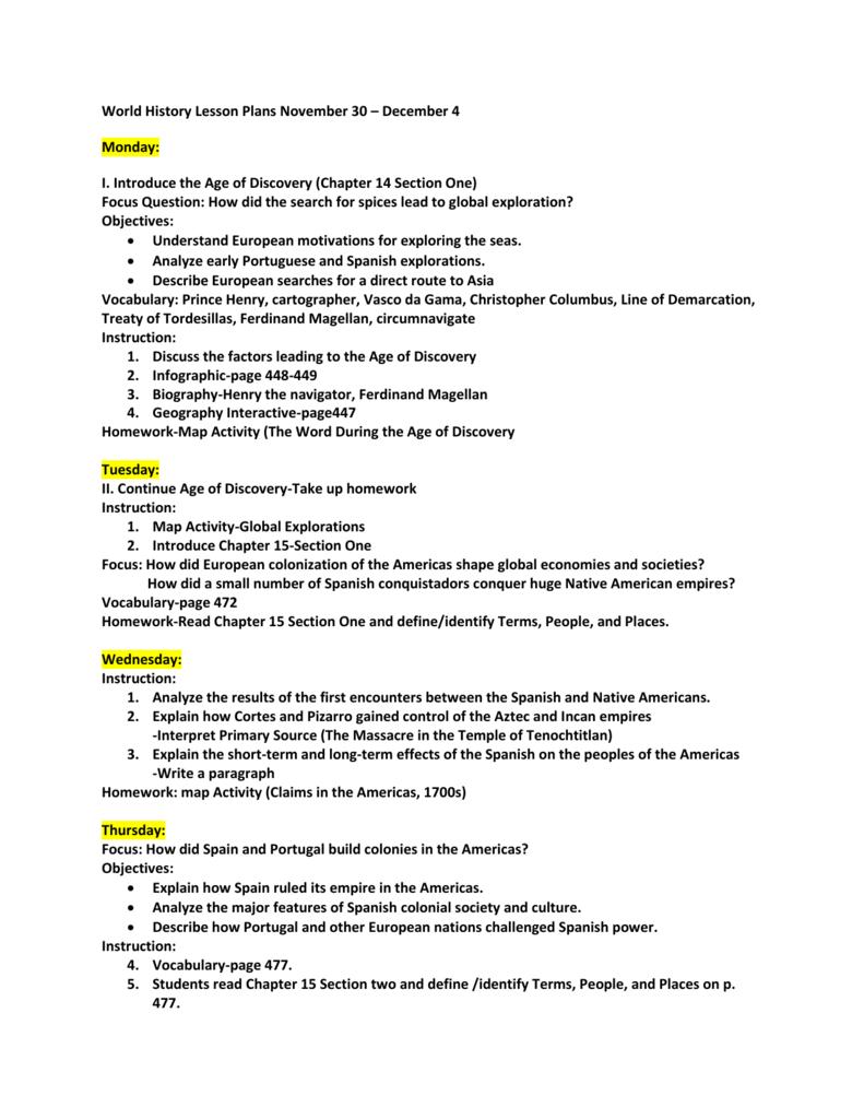 World History Lesson Plans November 30