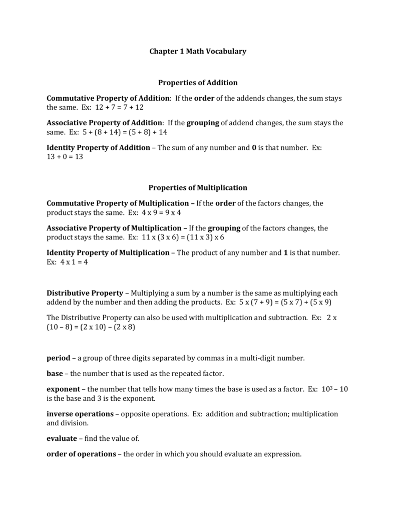 worksheet Properties Of Addition Worksheets worksheet properties of math grass fedjp study site chapter 1 vocabulary addition commutative