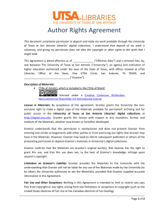 Author Rights Agreement - UTSA Libraries