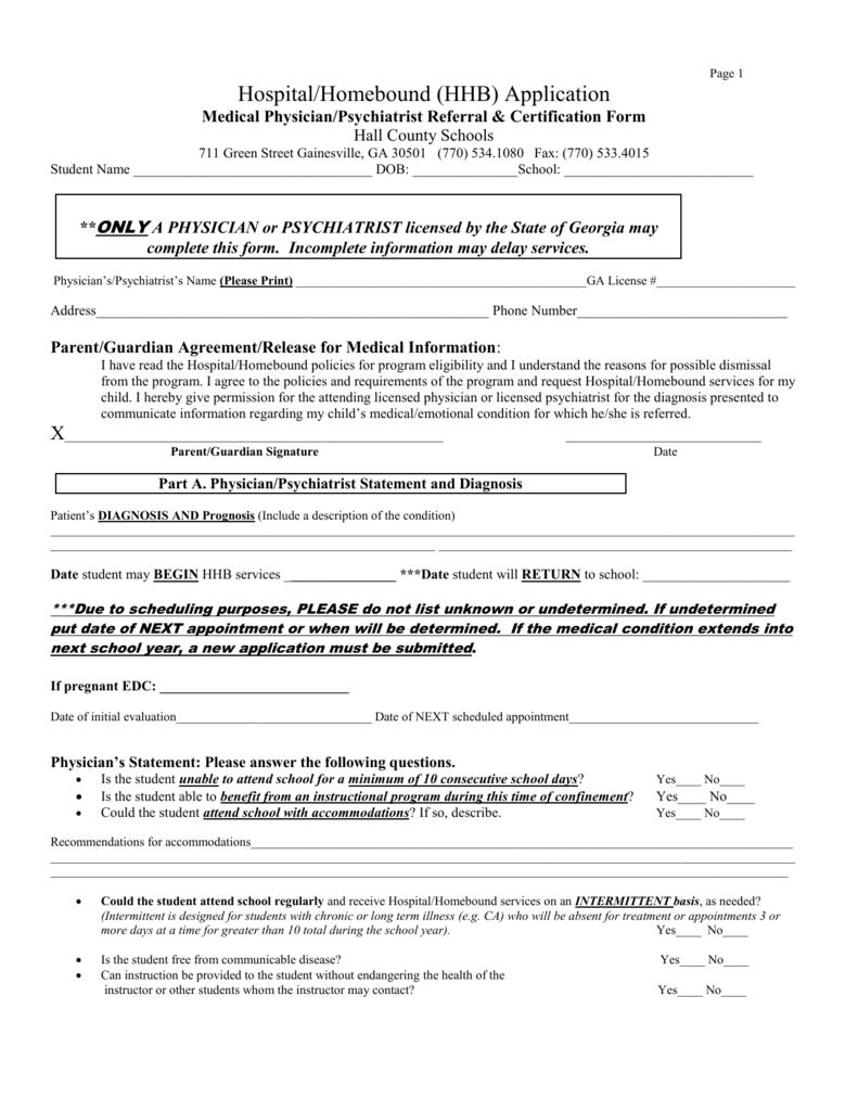 Hospital Homebound Medical Referral Form