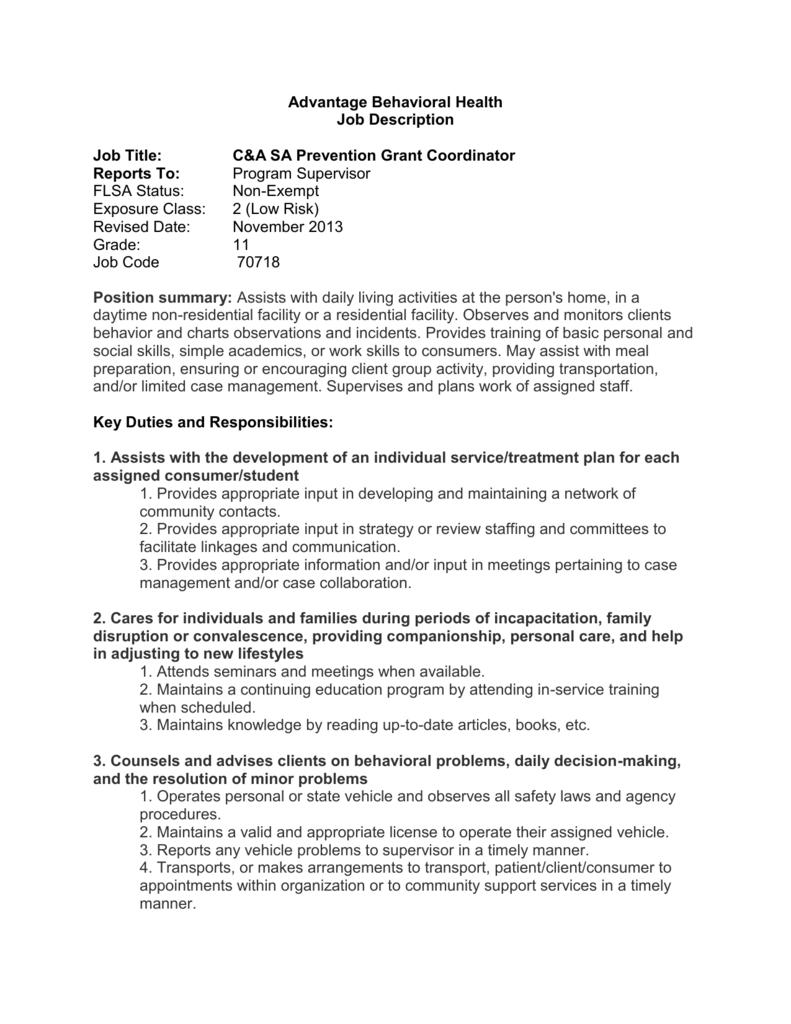 Advantage Behavioral Health Job Description Job Title: C&A SA