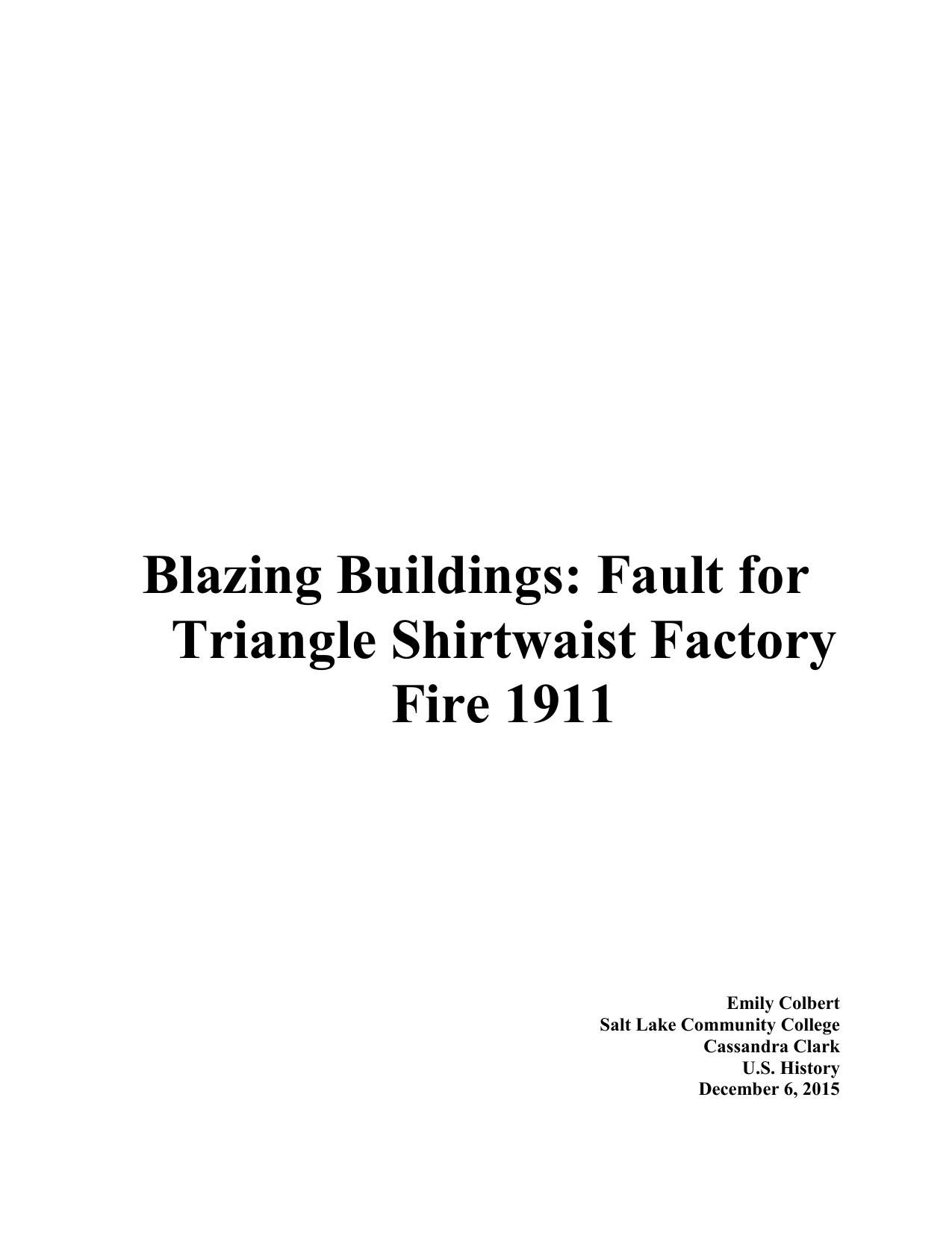 triangle shirtwaist factory fire research paper