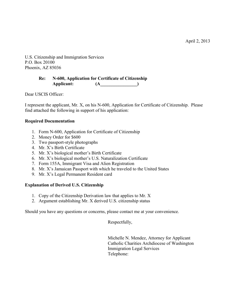 Sample N 600 Cover Letter For Derivation