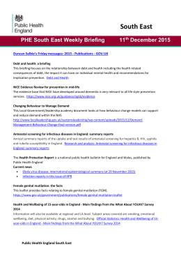 PHE South East Weekly Briefing 11 th December 2015