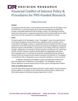 Financial Conflict of Interest Policy and Procedures for PHS