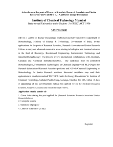 Advertisement - Institute of Chemical Technology, Mumbai