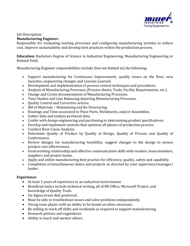 job description  manufacturing engineer  responsible for