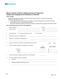 Marsh Canada Limited`s Liability Insurance Program for Artists and
