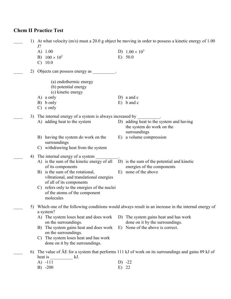 Chapter 5 Practice test with answers