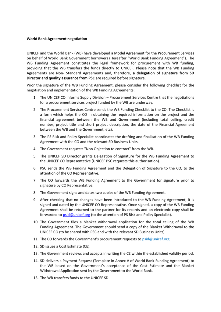 WB Funding Agreement Guidance Note For Country Offices - Funding agreement template