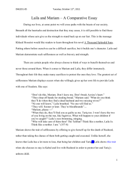 A Thousand Splendid Suns A Thousand Splendid Suns By Khaled Hosseini  Lailaandmariamcomparativeessay Topics For High School Essays also Examples Of A Thesis Statement For A Narrative Essay  A Healthy Mind In A Healthy Body Essay