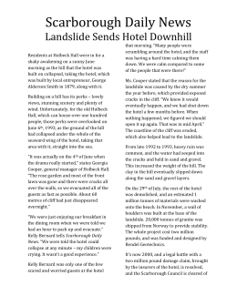 Scarborough Daily News - Lanslide Sends Hotel - sarahs