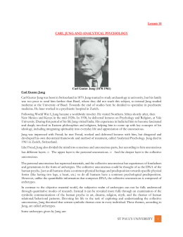 Lesson 11 CARL JUNG AND ANALYTICAL PSYCHOLOGY Carl