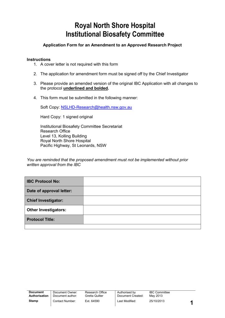IBC Amendment Form