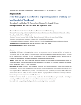 Socio-demographic characteristics of poisoning cases in a