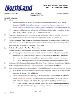 NSEC Due Process Initial Evaluation Checklist