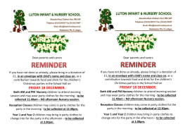 Christmas Party reminder donation letters and party clothes