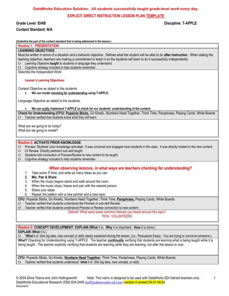 Explicit direct instruction lesson plan - Instructional design plan examples ...