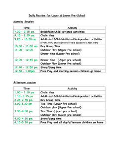 to the Daily Routine for the Lower Pre + PreSchool Room