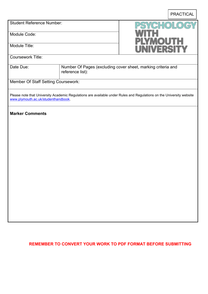 plymouth uni coursework cover sheet