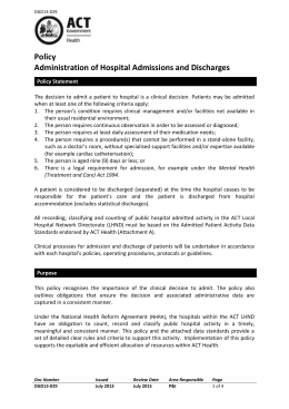 Administration of Hospital Admissions and Discharges