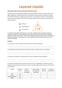 Layered Liquids information and question sheet