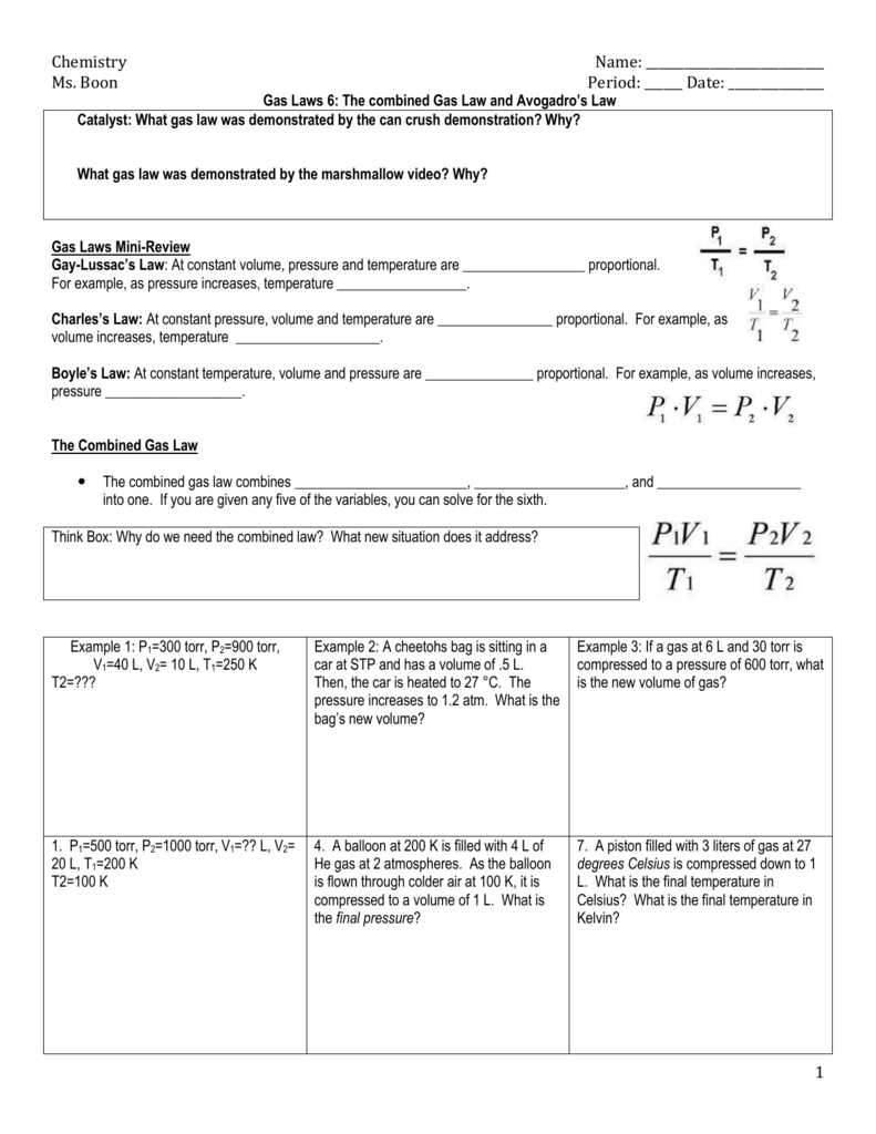 Chemistry Name Ms Boon Period Date Gas Laws 6 The
