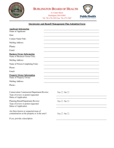Stormwater & Runoff Management Plan Submittal Form