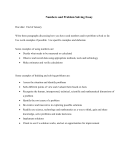 Numbers and Problem Solving Essay