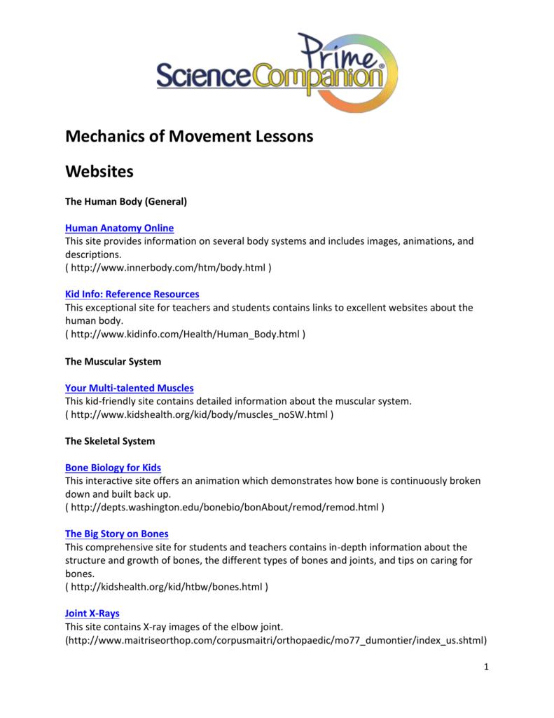 Mechanics Of Movement Lessons