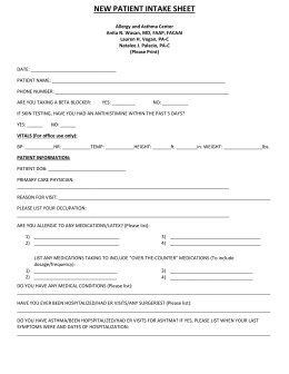 new patient intake sheet - Allergy and Asthma Center