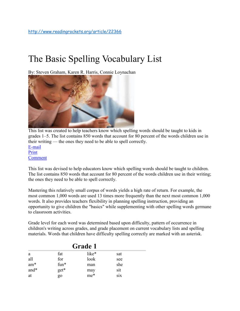 Reading Rockets Word List