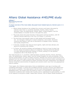 Allianz Global Assistance. Concerns of travellers report 2014