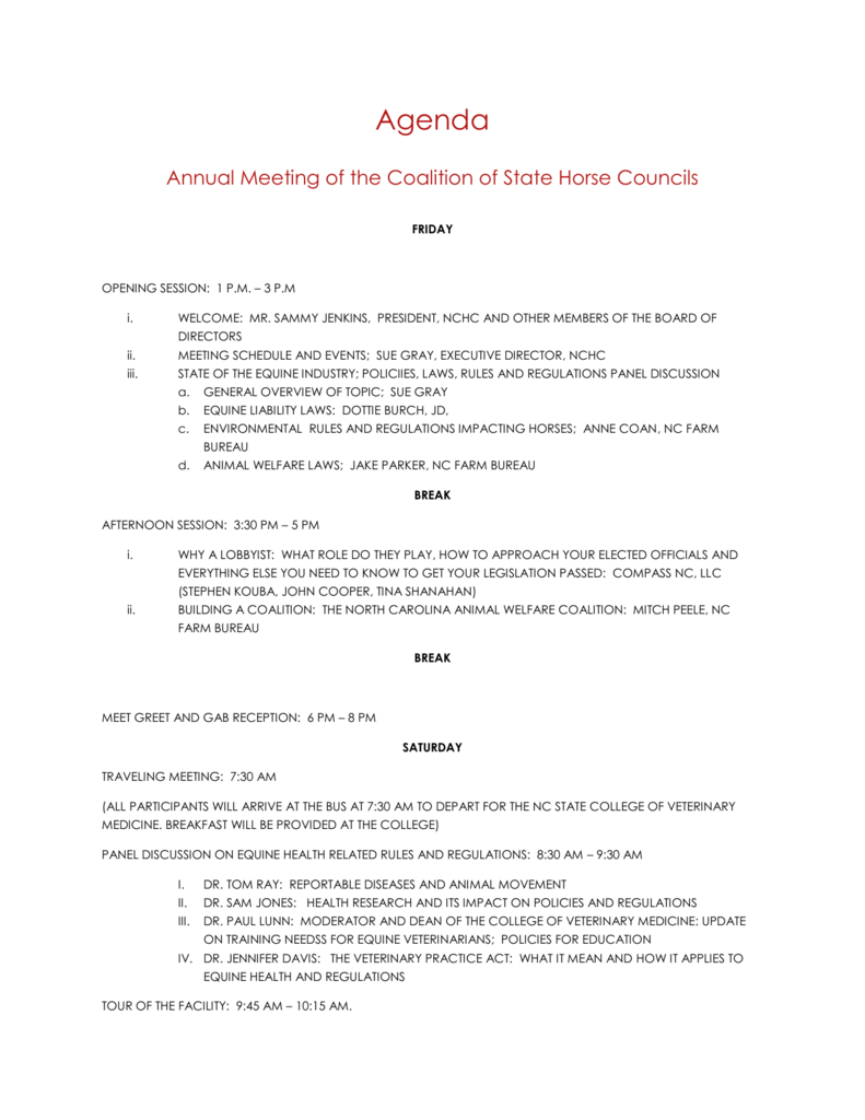agenda for meeting american horse council