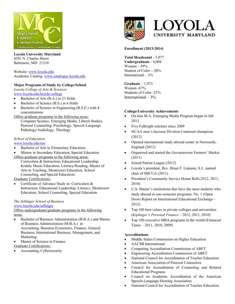 Loyola University Maryland Career Consortium
