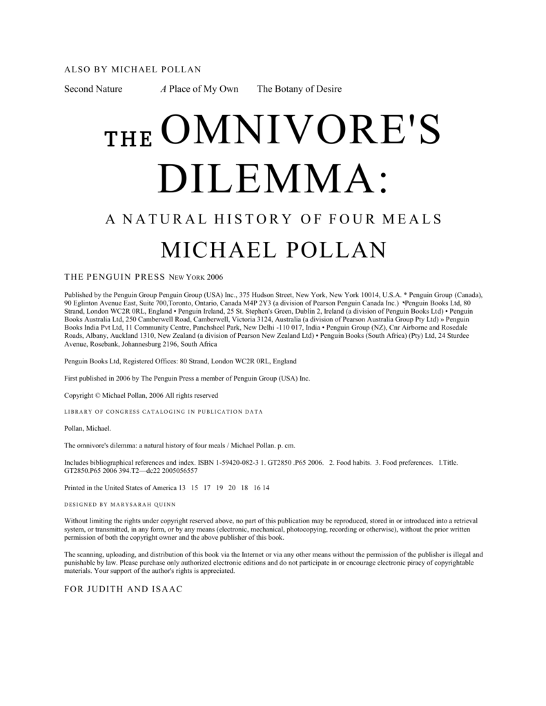 omnivores dilemma thesis